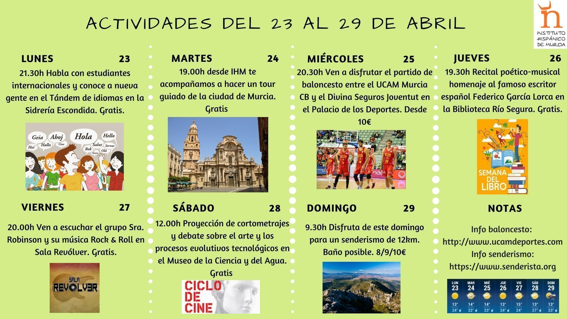 Actividad Del 25 Al 29 De Abril: Spanish Courses Murcia Spain